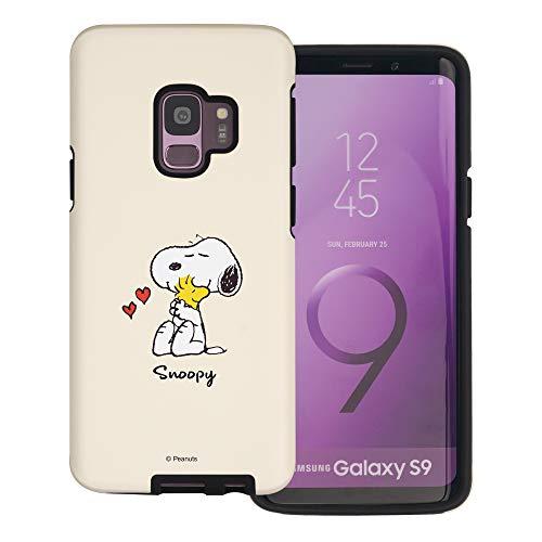 """Galaxy S9 ケース と互換性があります Peanuts Snoopy ピーナッツ スヌーピー ダブル バンパー ケース デュアルレイヤー 【 ギャラクシー S9 ケース (5.8"""") 】 (スヌーピー ウッドストック 抱擁) [並行輸入品"""