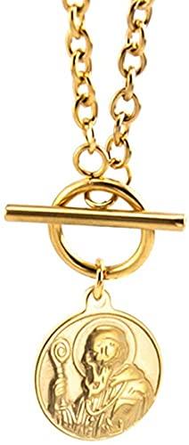 NC110 Acero Inoxidable Hip Hop Rock Lucky Lock Mapa Moneda Colgante Saint Religion Collares para Mujer Candado Marca Joyería 55Cm YUAHJIGE