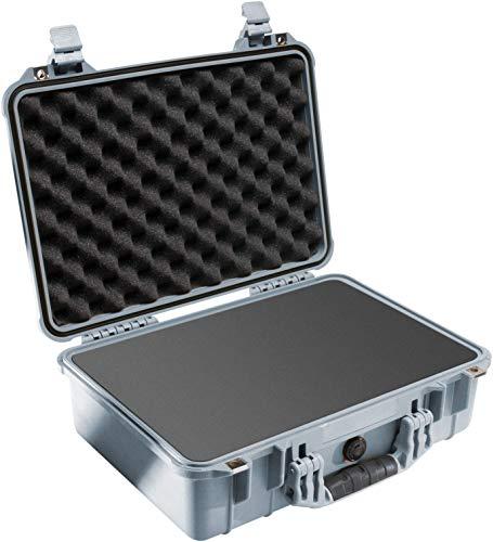 PELI 1500 Beliebter Schutzkoffer für Empfindliche Ausrüstung, IP67 Wasser- und Staubdicht, 19L Volumen, Hergestellt in Deutschland, Mit Schaumstoffeinlage (Anpassbar), Silber