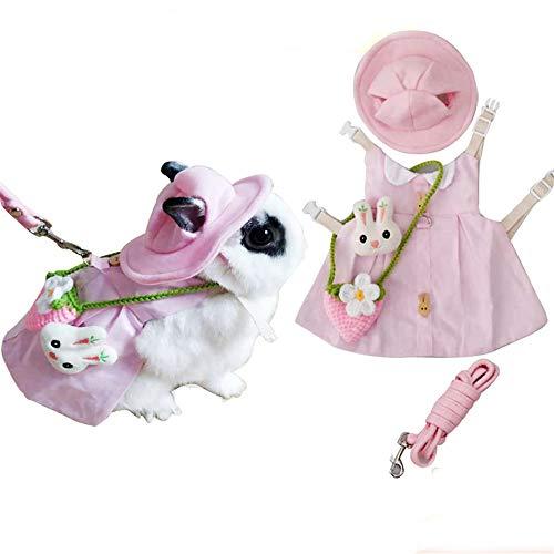 Mumax Kaninchenkleid, süßes Kleintier-Kostüm mit Sonnenhut, Mini-Tasche, Geschirr, Zubehör-Set für Kaninchen, Igel, Frettchen, Meerschweinchen, Schweinchen, Eichhörnchen Kleidung, rose