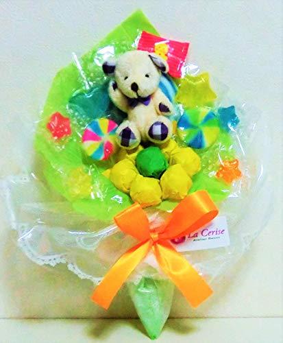 キャンディーブーケ 手持ちSサイズ シロクマさん(パープル)発表会 花束 (グリーン)