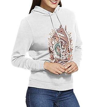 DAIPLY My Neighbor Totoro Matryoshka Womens Pullover Hoodies Crewneck Long Sleeve Sweatshirt White
