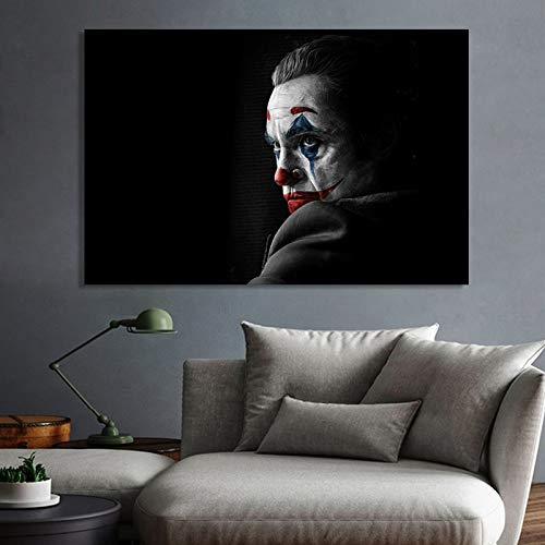 ganlanshu Modernes Filmkunstclownporträt-Wandkunstbild für Wohnzimmerdekoration,Rahmenlose Malerei,80X120cm