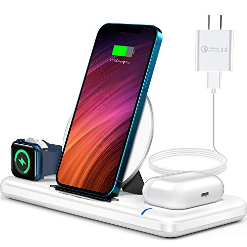 Wireless Charger, 3 in 1 Wireless Charger Station for Apple Watch SE 6 5 4 3 2, AirPods Pro/2, Wireless Charging Stand Dock with QC3.0 Adapter for iPhone 12 11 Pro Max Xs X Xr 8, Samsung (White)
