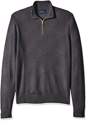 Amazon Brand - BUTTONED DOWN Men's 100% Premium Cashmere Quarter-Zip Sweater, Dark Grey, X-Large