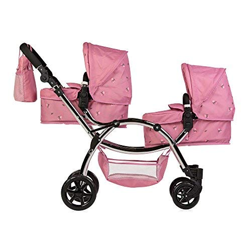Roma Darcie Twin Dolls Pram in Pink, Suitable From 3 to 16 Years, Adjustable Handle Height, 16 Combinations, Double Dolly Toy Stroller For Christmas, Ideal For Reborn Dolls