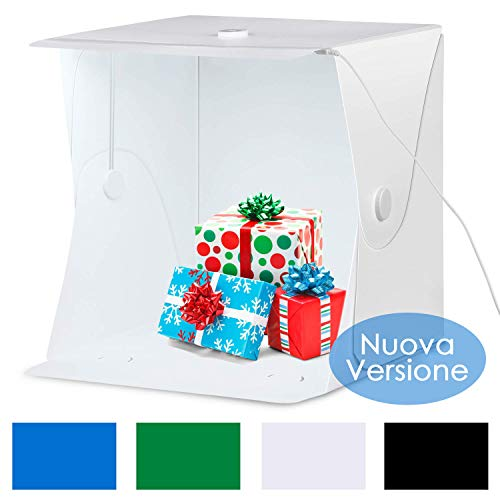 Amzdeal Tenda Studio Light Box Fotografico 40 * 40cm Portatile con 6000-6500K LED Strip + Supporto in Metallo + 4 Inferiore Canvas (Nero/Bianco/Blu/Verde)