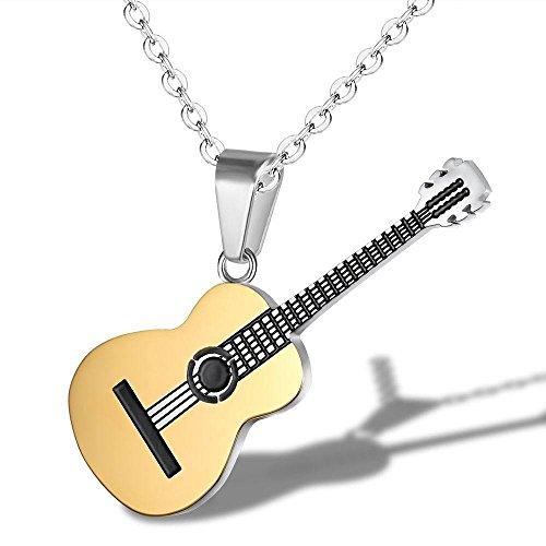 YAZILIND Mode schmuck Frauen männer Titan Stahl Halskette Kreative Klassische Musik Gitarre anhänger Charme Kette für Party (Gold)