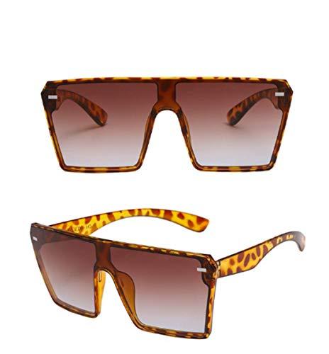 2PCS Fashion Oversize Square Lens Gafas de sol, mujeres que conducen gafas al aire libre, hombres gafas de sol de estilo sucinto (brown)