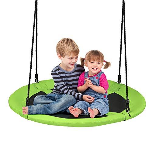 DREAMADE Nestschaukel Garten Schaukel höheverstellbar für In- und Outdoor, Tellerschaukel Rundschaukel Hängeschaukel für Kinder & Erwachsene, φ100 cm, max.150 kg belastbar (Grün)