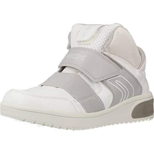 Geox XLED J847QA Jungen High-Top Sneaker,Kinder Stiefel,Sportschuh,Klettschuh,Sneaker-Stiefel,mid Cut, Doppelklett-Verschluss,Blinklicht,LED,Licht,White,EU 36
