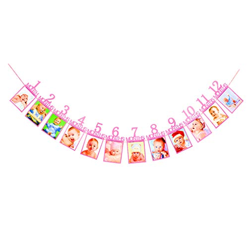 Idyandyans 1. Geburtstags-Papier Bunting Garland Baby-Fotografie Rahmen-Fahne 1-12 Monats-Foto-Prop-Partei-Dekoration