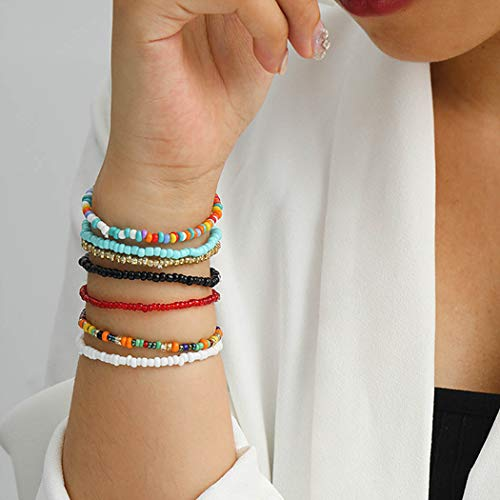 Bohend Boho Layered Bead Bracelets Clours Stretchy Hand Chain Bohenian Multilayered Bracelet Jewelry for Women and Girls