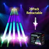 VANVENE Light Up LED Swords Expandable Laser Sabers Glow in Dark, Mini Glow Sticks, [20 Pack], 4-Section 5 Colors, Flashing Neon Party Favors - Batteries Included