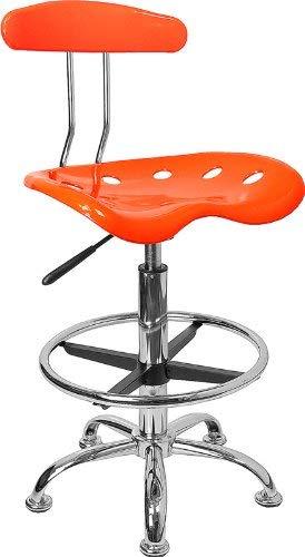 Kücheks Lebendiger orangefarbener und verchromter Zeichenhocker mit Traktorsitz