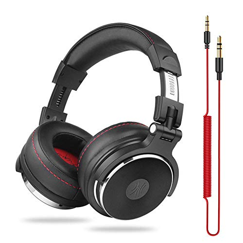DJ Headphones with Microphone Over Ear Wired HiFi Monitors Earphones Foldable Gaming Headset for PC,for iPad PS4 PC Laptop Tablet Computer/G
