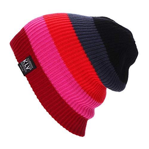 Xiaojie Skiing Hats Skiing Hats Warm Winter Knitting Rainbow Striped Cap Hat Beanies Turtleneck Caps Ski Cap