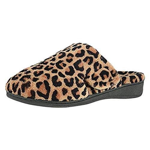 Vionic Women's Gemma Mule Slipper - Comfortable Spa House Slippers that include Three-Zone Comfort with Orthotic Insole Arch Support, Soft House Shoes for Ladies Natural Leopard 7 Medium US