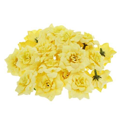 ULTNICE 50 Stück Blumenköpfe Künstliche Blume Köpfe Stapelia Köpfe Rose Kopf für Hausgarten Hochzeit Geburtstag Party Dekoration,Gelb