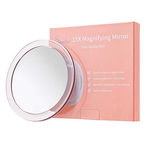 15X Espejo de Aumento (15cm) - con 3 ventosas de Montaje Uso para aplicación de Maquillaje precisa - Cejas/Pinzas - Eliminación de Puntos Negros/Manchas - Espejo de Maquillaje para baño/Viaje