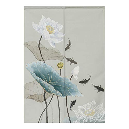 "BAIHT HOME Noren Japanese Curtains Cotton Linen Doorway Tapestry Curtain Lotus Design Flower Door Curtain, 31"" x 59"""