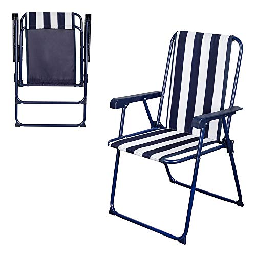 AKTIVE 62614 Chaise Pliante Fixe à Rayures Marines Garden 53 x 47 x 85 cm, Bleu/Blanc, 53 x 48 x 85 cm