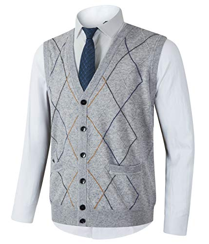 Homovater Mens Casual V-Neck Knitted Vest Sleeveless Sweaters Cardigan Button Down Knitwear Tank Top with Ribbing Edge Argyle Light Gray