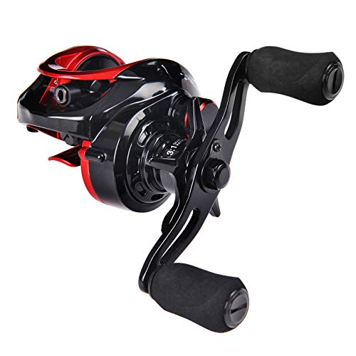 Fiblink Baitcasting Fishing Reel 10+1 Ball Bearings Right/Left Hand Casting Reel Ultra Smooth Baitcaster for Freshwater and Saltwater with Reel Bag (Right Handed)