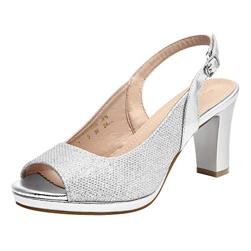 DREAM PAIRS Women' s Neina Sexy high Chunky Heels Block Platform Slingback peep Toe Dress Pumps Shoes Silver Size 7