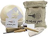 Banneton Bread Proofing Basket - Set of 2 Round Baskets, Includes Tool Set - Whisk & Brotform Linen Liner & Bread Bag & Lame & Scraper & Stencil, for Home Bakers - Proofing Bowl Gift Set