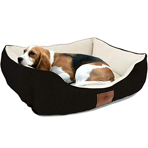 American Kennel Club Small Black Dog Bed, Solid Weave Cuddler, AKC Pet Cuddler