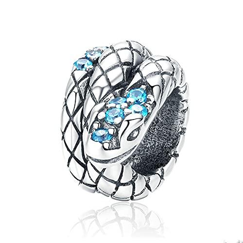 LIJIAN DIY 925 Sterling Jewelry Charm Beads Serpiente Genuina Mm Serpiente Estilo Retro Metal Fino Hacer Originales Pandora Collares Pulseras Y Tobilleras Regalos para Mujeres