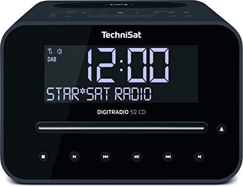 TechniSat Digitradio 52 CD Stereo DAB Radiowecker mit zwei einstellbaren Weckzeiten (DAB+, UKW, Snooze, Sleeptimer, dimmbares Display, Bluetooth, Wireless-Charging Funktion, CD-Player) schwarz