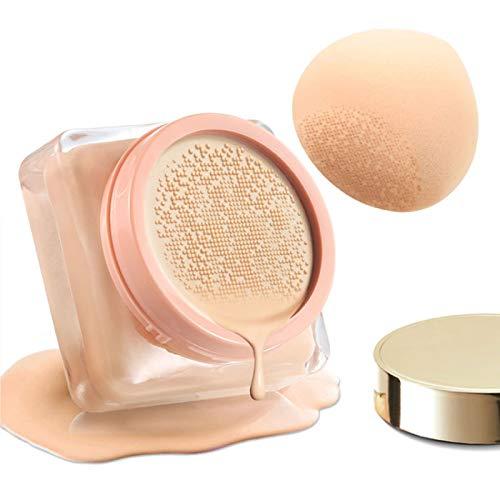 Mushroom Head Air Cushion CC Cream High Coverage Foundation Long Lasting Waterproof Brighten BB Moisturizing Medium Concealer For Oily Skin Hides Face Pores ,with Makeup Sponge