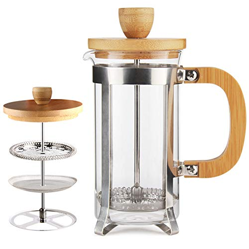 12 oz French Press Coffee/Tea Maker Single Server by Sivaphe Espresso Press Small Frother with 18/8 Stainless Steel Filter 0.35L High Borosilicate Carafe Durable Bamboo Handle