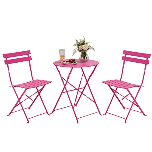 Grand patio Balcony Chair and Table Set, 2 Chairs and 1 Table, Premium Steel, Easy to Fold, Bistro Table and Chairs for Balcony,Yard, Garden, Various of Colours (lPlum Red