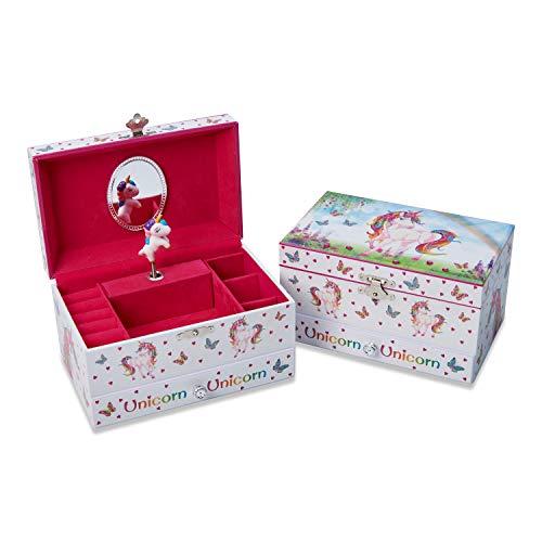Lucy Locket - Joyero infantil musical con «Unicornio Mágico» - Caja musical rosa brillante para niños con soporte para anillos