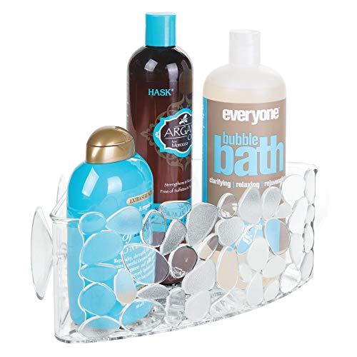 iDesign Duschablage für Ecken, kleiner Duschkorb  mit Saugnapf aus Kunststoff, hängende Seifenablage mit Ablauföffnungen, durchsichtig