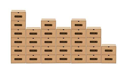 BigDean 30er Boxen-Set mit Sichtfenster + Schublade - Pappkarton aus Kraftpapier - Schuhbox Spielzeug-Box Aufbewahrung für Zubehör & Accessoires