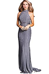 Gunmetal Evening Gown Authentic 56001 Long Dress