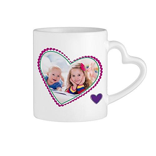 Casa Vivente Kaffeebecher mit Herzhenkel und Aufdruck – Beste Oma – Personalisiert mit [Foto] – Persönliche Foto-Tasse – Weiße Keramiktasse – Geschenkidee für Großmütter zum Geburtstag