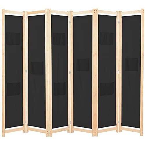 vidaXL Divisorio a 6 Pannelli con Tasche Autoportante Paravento Separé Privacy Stanza Nero 240x170x4 cm in Tessuto e Massello Abete