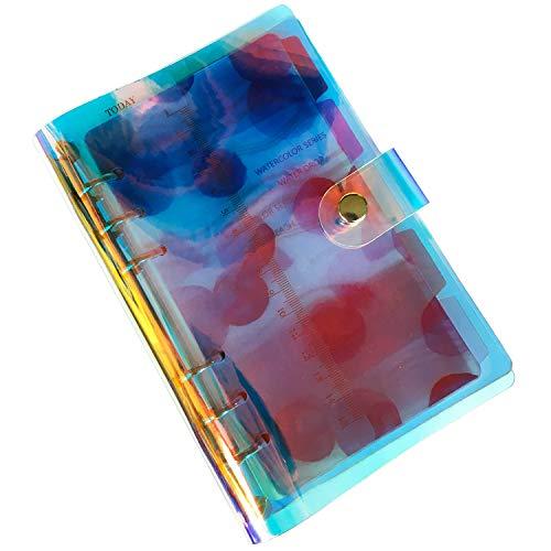 【セット販売】A6 6穴 システム手帳 リングノート PVC製 レインボークリア バインダー ブルーインデックス5枚 ルーラー1枚 パンチ穴補強シール84片 リフィル 幅8mm横罫線45枚 5mm方眼45枚 名刺ポケット&収納袋各1枚(Rainbow Li