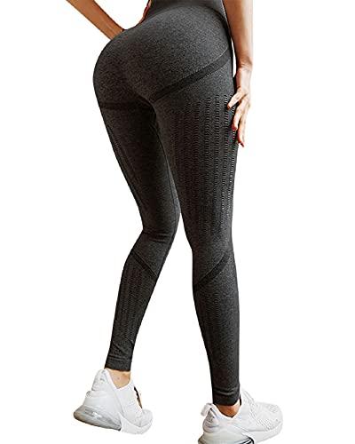 Voqeen Pantalones de Adelgazantes Mujer Leggins Reductores Adelgazantes Leggings de Yoga Tie-Dye Anticeluliticos Cintura Alta Mallas Fitness Push Up para Deporte Mallas (E - Negro, S)