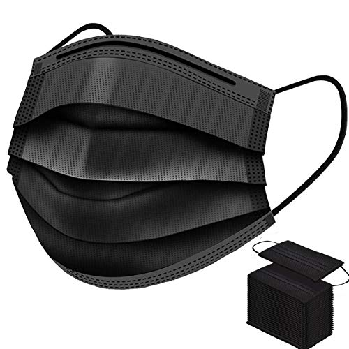 50 Pcs Face Masks Disposable Black Breathable Dust Mask Stretchable Elastic Ear Loops - Black Face Mask