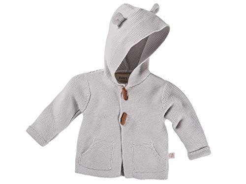 Bio Baby Strickjacke mit Kapuze 100% Bio-Baumwolle (kbA) GOTS zertifiziert, Hellgrau Melange, 50/56