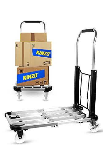 Kinzo Plattformwagen Faltbar 150 Kilo Carrello a Piattaforma, Nero/Argento