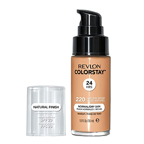 Revlon ColorStay Makeup for Normal/Dry Skin SPF 20, Longwear Liquid Foundation, with Medium-Full Coverage, Natural Finish, Oil Free, 220 Natural Beige, 1.0 oz