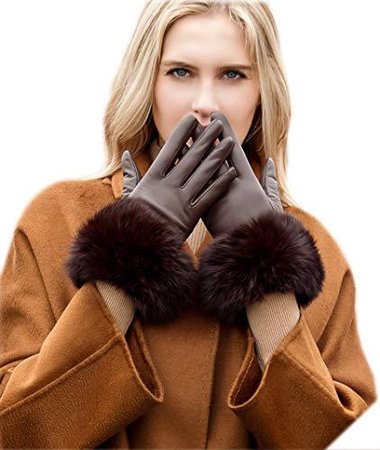 YISEVEN Women's Touchscreen Lambskin Leather Gloves Wool Fur Cuffs Plain Fleece Lined...