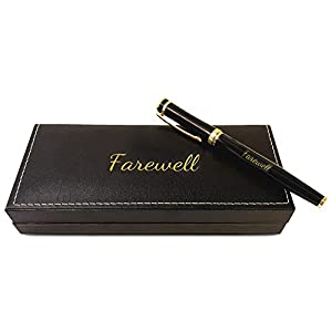 """A MEMORABLE FAREWELL: This gift will be remembered long past the giving. This memorable, modern gift is a perfect keepsake that comes with the word """"Farewell"""" engraved in gold on both pen and case. WELL BUILT: The pen is manufactured with quality mat..."""